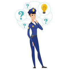 caucasian police woman having idea vector image