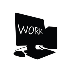 computer work black vector image