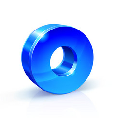 glossy blue zero 0 number 3d on vector image