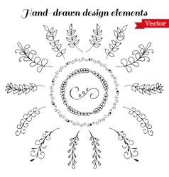 Hand Drawn wreath and design elements vector image vector image