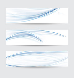 set of abstract blue wavy water flow vector image