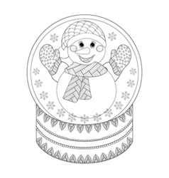 zentangle Chriatmas snow globe with snowman Hand vector image vector image