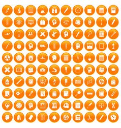 100 learning icons set orange vector image vector image