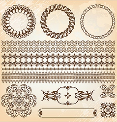 collection of beautiful vintage elements for vector image