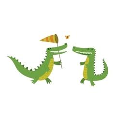Cute crocodile character vector image vector image
