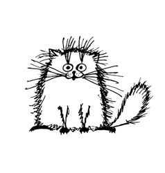 Funny fluffy cat sketch for your design vector image vector image