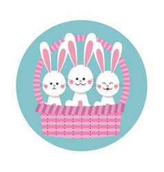 happy easter bunnies in basket icon vector image