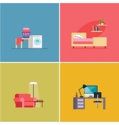 Interior Design Rooms Set vector image
