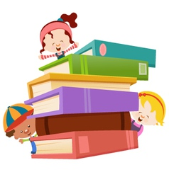 kids with books vector image vector image