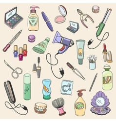 Beauty and cosmetic hand drawn items vector image