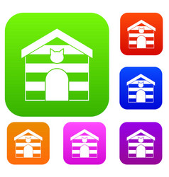 cat house set color collection vector image vector image