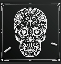 chalkboard day of the dead skull sketch draw vector image