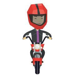young man riding motorcycle at night vector image vector image