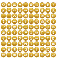 100 gas station icons set gold vector