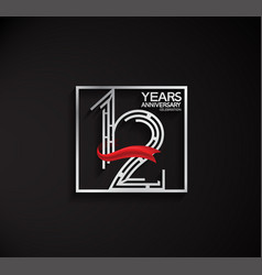 12 years anniversary logotype with square silver vector