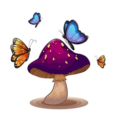 A big mushroom with butterflies vector image