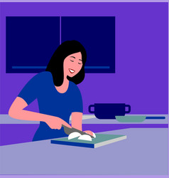 a girl in her kitchen vector image