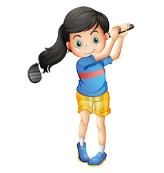 A young girl playing golf vector image