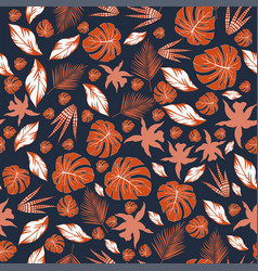 abstract color orange leaves seamless pattern vector image