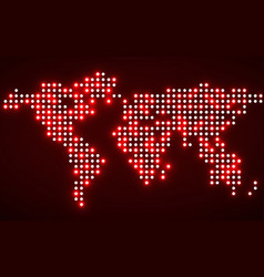 abstract world map with glowing dots vector image
