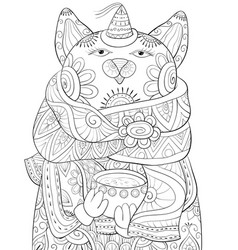 adult coloring bookpage a cute cat wearing a vector image