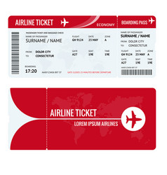 Airline ticket or boarding pass for traveling by vector