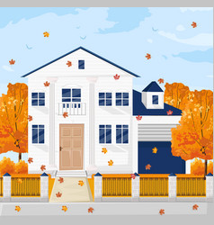 architecture facade white french cottage house vector image