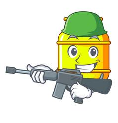 Army flammable gas tank on cartoon the vector