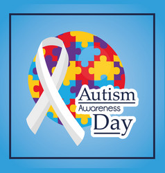 Autism awareness day ribbon medical help event vector