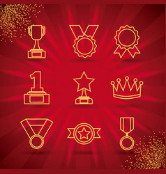 awards trophy medals and winning ribbon success vector image