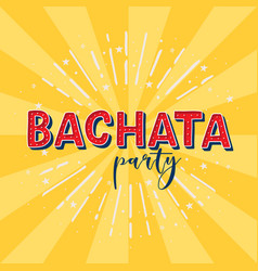 Bachata party logotype yellow rays background vector