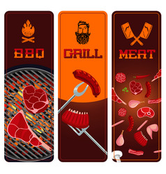 bbq meat and grill vertical banners set barbecue vector image