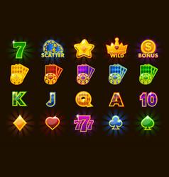 big set gaming icons of card symbols for slot vector image
