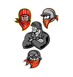 Biker outlaw mascot collection vector