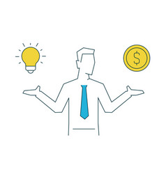 businessman holds idea in one hand and money in vector image