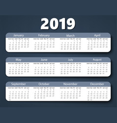 calendar 2019 year design template week vector image