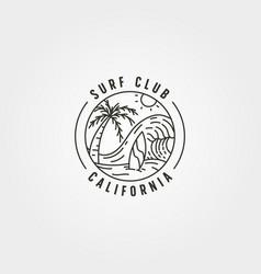 california surf line icon logo design big wave vector image
