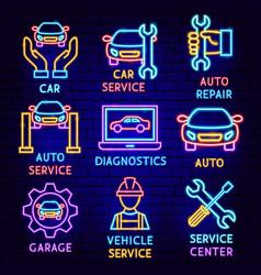 Car service label set vector
