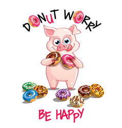 cartoon pig with donuts vector image
