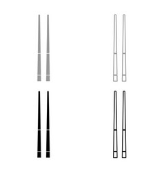 Chinese chopsticks icon set grey black color vector