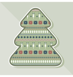 Christmas tree with ornamental texture vector image