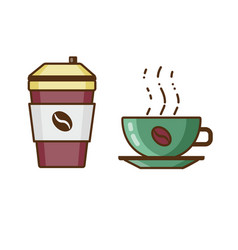 coffee in cup and beverage to go icons vector image