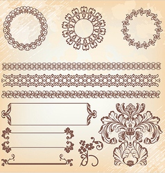 Collection ornate page decor elements borders vector