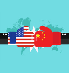 Conflict between usa and china with world map vector