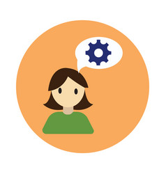 Coworker thinking flat on white background vector