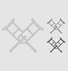 Crutches mesh wire frame model and triangle vector