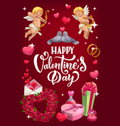 cupid flowers and rings valentines day vector image