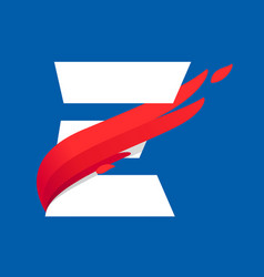 E letter logo with fast speed red bird wing vector