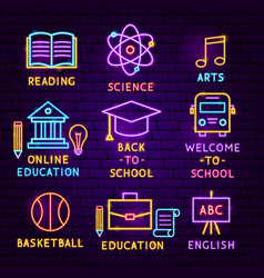 Education neon label set vector