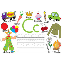 English alphabet letter c card with pictures vector